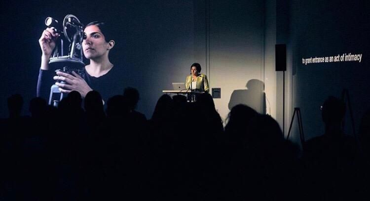Heba Y. Amin with her works and lecture at DAAD Gallery, Berlin (29/08/2019)